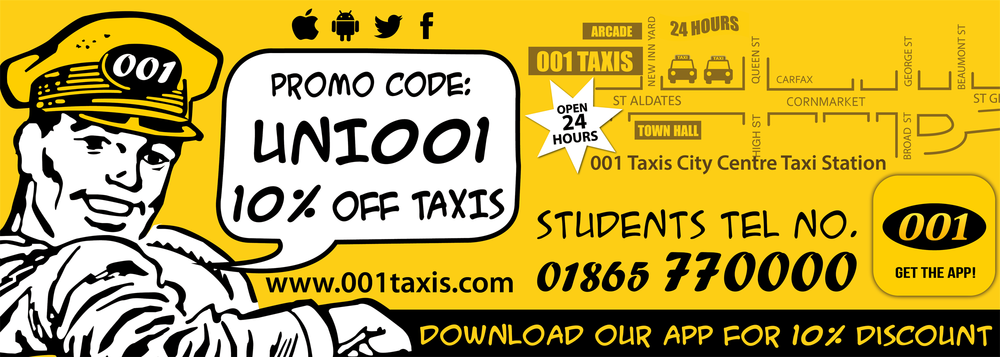 001 Taxis advertising 10% discount when using their app. Black on yellow, taxi driver and city skyli