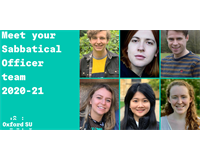A turquoise background with photos of the six sabbatical officers on the right