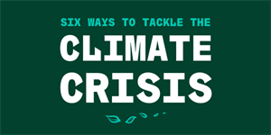 'six ways to tackle the climate crisis' (in green and white) with green leaves below text, all o
