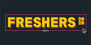 Yellow text with a pink outline on a black background: Freshers 2020. Computer mouse in bottom right