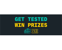ID: 'Get tested win prizes'.  icon of two presents and a voucher in green and yellow.
