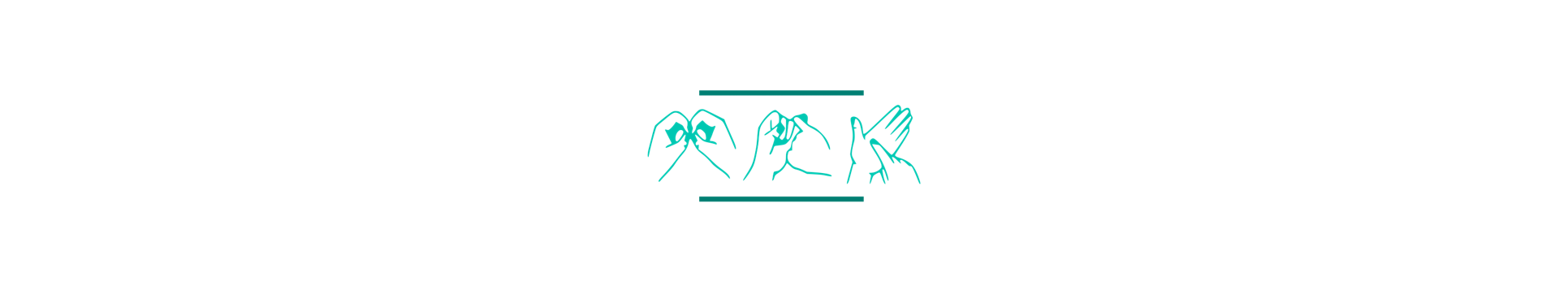 Image: three mint green hands signing the letters 'BSL', with a darker green line above and below the hands