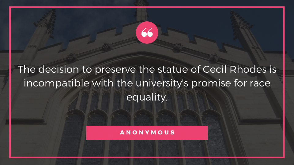 The decision to preserve the statue of Cecil Rhodes is incompatible with the university's promise for race equality.