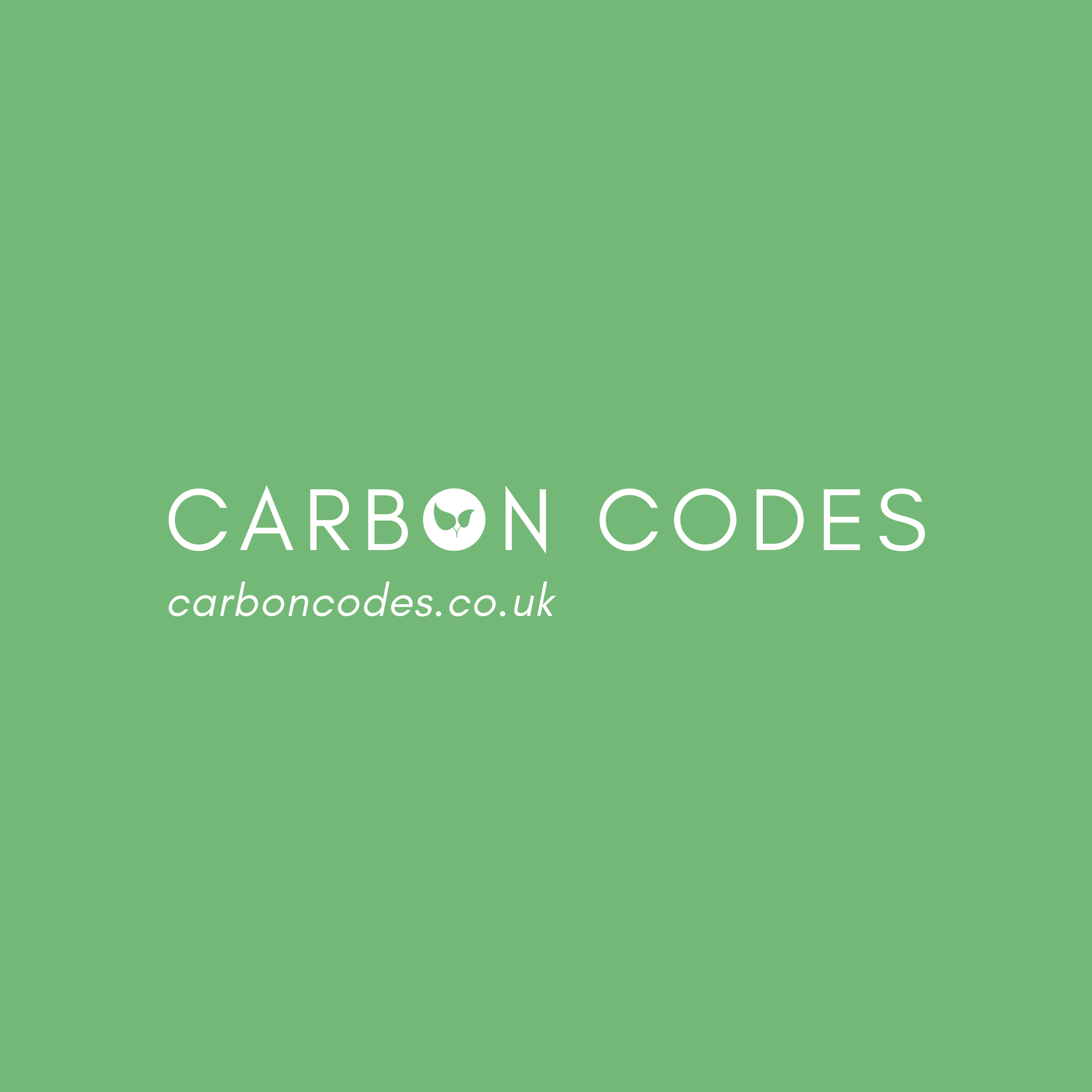 ID- green background with white lettering which reads. Carbon codes carboncodes.co.uk earn discounts for choosing sustainable food. Carbon code launches today! Sign up now